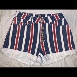 Stripped jean shorts